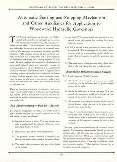 WOODWARD AUTOMATIC MECHANISM FOR HYDRO GOVERNORS  No  14300B 001 - WOODWARD…