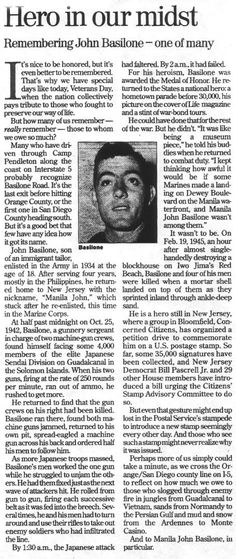 Marine God Puller: John Basilone -- Marine Legend