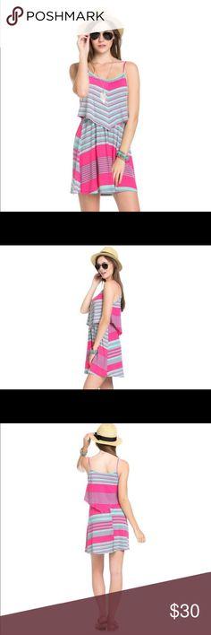 Selling this ❤️Cute Multi print layer top spaghetti dress❤️ on Poshmark! My username is: maemae2518. #shopmycloset #poshmark #fashion #shopping #style #forsale #The Blossom Apparel #Dresses & Skirts