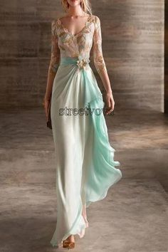 Three-Quarter Sleeve V-Neck Floor-Length A-Line Pullover Dress – maxi dress outfit summer,maxi dress summer,dress outfits party,dresses,maxi dress outfit casual,maxi dress summer beach,long maxi dress,maxi dress outfit #maxidressoutfitsummercasual #maxidresselegant #maxidressoutfitforwork #maxidress #maxidressoutfit #maxidresssummerwedding #maxidressesgorgeous #streetstyle #dresses #fashion #streetvova Blue Evening Dresses, Summer Dresses, Formal Dresses, Wedding Dresses, Maxi Dresses, Summer Maxi, Outfit Summer, Summer Beach, Party Dresses