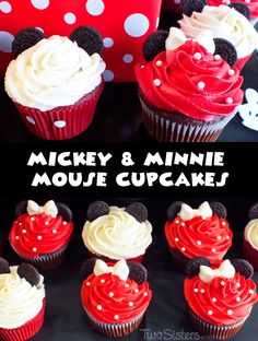 Mickey and Minnie Mouse Cupcakes for a Mickey Mouse Birthday Party