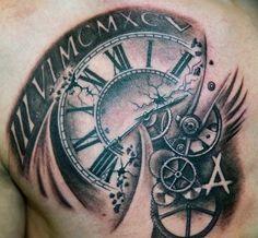 Chest Rose And Clock Tattoo For Men   tatuajes | Spanish tatuajes  |tatuajes para mujeres | tatuajes para hombres  | diseños de tatuajes http://amzn.to/28PQlav