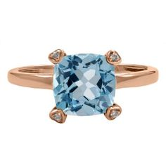 Cushion Cut Blue Topaz Diamond Rose Gold Simple Ring Gemstone Jewelry Available Exclusively at Gemologica.com