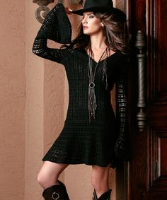 Look at this Union of Angels Black Chantilly Dress on #zulily today!