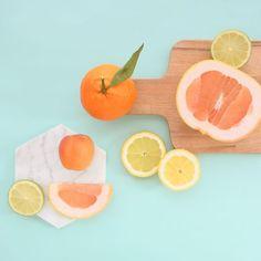 Such a bright, fun color palette. Citrus colors– bright orange, grapefruit, lemon yellow –plus cool gray and minty blue.