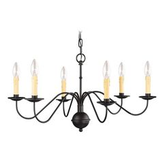 NEW 6 Light Colonial Candelabra Chandelier Lighting Fixture, Black, Livex