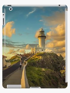'They gather to watch the Sunset at Byron Bay Lighthouse' iPad Case/Skin by Clare Colins Style Snaps, Byron Bay, Sell Your Art, Cn Tower, Seattle Skyline, Lighthouse, Landscape Photography, Universe, California