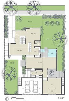 Image 33 of 36 from gallery of Bucktown Three AD Submission / Studio Dwell Architects. First Floor Plan Modern House Plans, Modern House Design, House Floor Plans, The Plan, How To Plan, Villa Plan, Floor Plan Layout, Property Design, Courtyard House