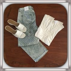 """Chico's Liberty Dot Crop. NWT. Brand new Chico's Crops with cute white dots on bleached denim. Size 1.5 / 10-12 women's. 10.5"""" rise, 34"""" waist, 24"""" inseam. Chico's Jeans Ankle & Cropped"""