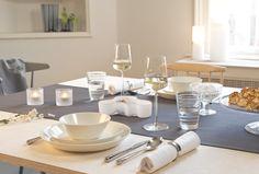 Iittala white and classic table setting with Teema tableware