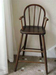 Vintage Childu0027s Wooden High Chair