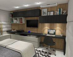 Super Home Office Quarto Masculino Ideas – Home Office Design Corner Study Room Design, Home Room Design, Home Design Decor, Home Office Design, Office Designs, Home Office Bedroom, Bedroom Setup, Bedroom Decor, Small Home Offices