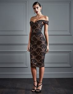 Rare Contrast Lace Bardot Midi Dress