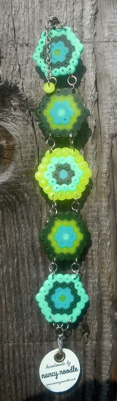 Ladies Hexagonal Hama Bead Bracelet in NeonYellow/ Aqua/Teal/Olive Green by NancyNoodleDesigns