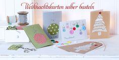 Weihnachtskarten selber basteln aus Knöpfen, Stoffresten oder Papier