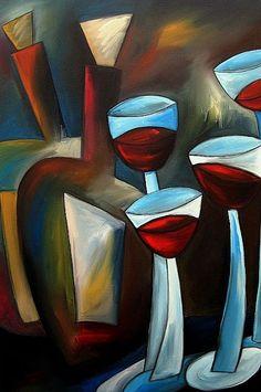 Art: Wine 103 2436 Original Abstract Art One Down by Artist Thomas C. Fedro