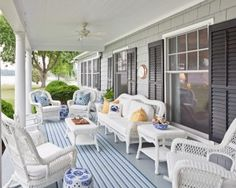 White Porch   Wicker Furniture   Blue Chinoiserie   Home Design   Outdoor   Patio   Living