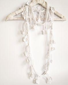White Flower Scarf Egyptian Cotton Crochet Scarf by Yanettine