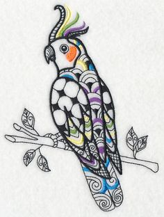Cockatiel (Blackwork) design (K9575) from www.Emblibrary.com