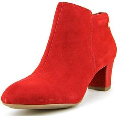 Hush Puppies Corie Imagery Women Dress ($14) ❤ liked on Polyvore featuring shoes, boots, ankle booties, red, red bootie, red suede boots, suede ankle booties, red ankle boots and faux suede booties