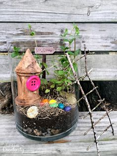 """Help your little ones create a magical garden terrarium that and St. Patrick's leprechaun would love to call home. A twig ladder, rainbow stepping stones, and a tiny little house make a great hiding place for any shy leprechaun. Crafts To Make, Crafts For Kids, Toddler Crafts, Fun Crafts, Good Luck Clover, Garden Crafts, Garden Ideas, Garden Art, Paper Pot"