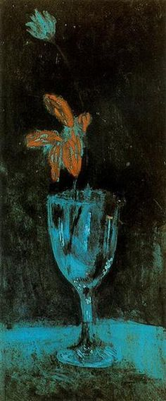 A blue vase, 1903 by Pablo Picasso, Blue Period. Symbolism. still life. Museu Picasso, Barcelona, Spain