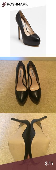 "Steve Madden Yasmin Black Pumps 5 1/4"" heel; 1"" platform. Leather upper/synthetic lining and sole. By Steve Madden. (Taken from the Nordstrom description). Never worn. Only tried on multiple times. Small scratched as shown. More pictures on request. Steve Madden Shoes Heels"