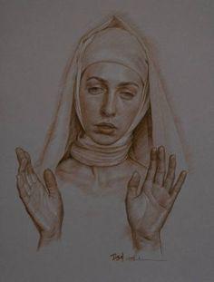 "Saatchi Art Artist William Wu; Drawing, ""Portrait of a Praying girl"" #art"