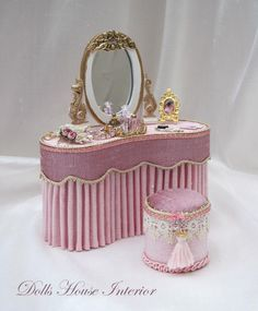 Miniature beautiful vanity - Dressed Furniture.This is for a dollhouse but would LOVE for me!!