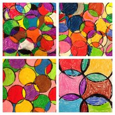 Circle art -- plastic cups, black paint, white paper, and oil pastels Easy Art Projects, School Art Projects, Projects For Kids, Project Ideas, School Ideas, Oil Pastel Art, Oil Pastels, 3rd Grade Art, Third Grade