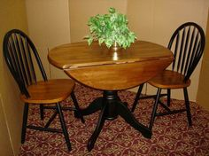 """Country Marketplace - Solid Birch 40"""" Round Dropleaf Table with 2 Fanback Chairs,   (http://www.countrymarketplaces.com/solid-birch-40-round-dropleaf-table-with-2-fanback-chairs/)"""