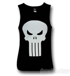 5e0688697b56 Punisher White Skull Mad Engine Tank Top Skull Tank Tops