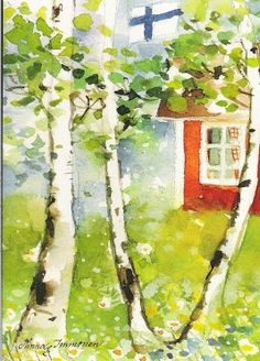 Minna Immonen postcard. Cottage In The Woods, Distance, Watercolor, Wall Art, Illustration, Poster, Painting, Ideas, Finland