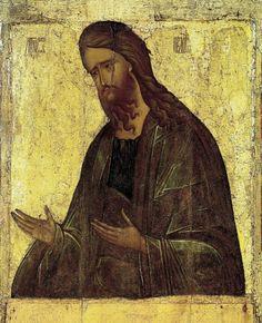 Иоанн Креститель, икона из деисусного чина Николо-Песношского монастыря близ Дмитрова, первая треть XV в. Музей Андрея Рублёва