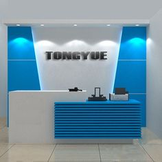 High gloss white contemporary office reception desk counter