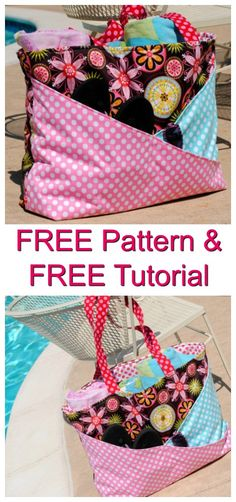 Sunny Days waterproof beach bag - FREE pattern & tutorial This bag has been specifically designed to take all your stuff to the pool or beach. The FREE pattern and tutorial makes it a real bonus bag. The Sunny Days bag is 19 Sewing Patterns Free, Sewing Tutorials, Sewing Projects, Free Sewing, Beach Bag Tutorials, Diy Bags Tutorial, Diy Bags Purses, Tote Pattern, Cross Body Bag Pattern Free