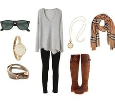 Super Cute Gray Top and scarf