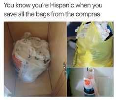 You Know You're Hispanic When You Save All The Bags From The Compras - Funny Memes. The Funniest Memes worldwide for Birthdays, School, Cats, and Dank Memes - Meme Mexican Funny Memes, Funny Spanish Memes, Mexican Humor, Spanish Humor, Funny Relatable Memes, Mexican Stuff, 9gag Funny, Hilarious Memes, Lejuan James