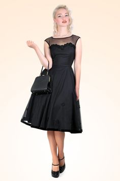 Collectif Clothing - 50s Faye Floral Doll Dress Black