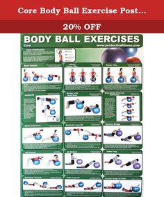 Core Body Ball Exercise Poster by Productive Fitness. Colorful Body Ball poster illustrates how to perform 15 different core exercises by provided clear step by step instructions from start to finish. Core poster demonstrates how to perform variations of crunches, tilts, leg lifts, rollouts, extensions and more! Learn how to stabilize your torso and protect your spine while performing body ball exercises. Poster comes laminated for protections making this the perfect addition to any gym...