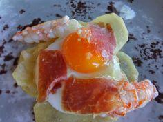 #huevos rotos con #cigalas y #aceite de #trufa