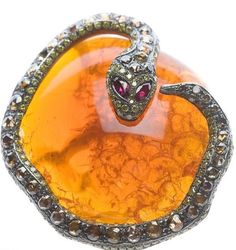 KIMBERLY McDONALD: a great fire opal and black diamond snake ring
