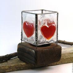 """Купить Подсвечник """"Про любовь"""" витражный - комбинированный, подсвечник, витражный подсвечник, Витраж, сердце, с сердцем"""