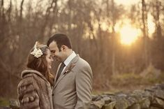 Rustic DIY Wedding Picture: Love the hair piece and the fur coat.  Could use Grandma Emmas old fur coat