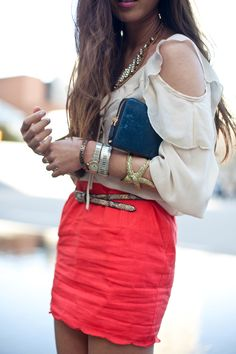 #summer #streetstyle #fashion #blouse #skirt #red #leopard #shoes #wedge