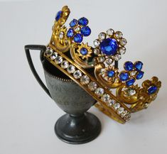 Late 1800s Incredible French Antique Jeweled Crown-