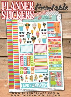 Sock Monkeys and Ice Cream Stickers Planner Printable - fun stickers for your planner!  Sock monkeys all ready for summer fun, and ice cream and popsicles happy to be on the pages of your planner.