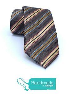"Brown, yellow, blue striped men's tie 7 cm (2,76"") SL-512 from Nazo Design https://www.amazon.com/dp/B01FPW7OLA/ref=hnd_sw_r_pi_dp_pdJ6xb0882GXB #handmadeatamazon #nazodesign"