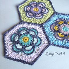 Painted flower hexagon. Crochet. Mijo crochet.