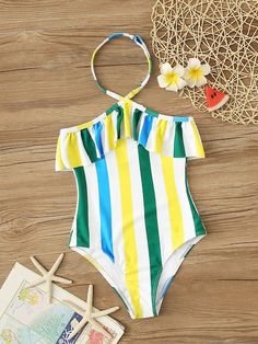 To find out about the Girls Striped Halter Ruffle One Piece Swimwear at SHEIN, part of our latest Girls Swimwear ready to shop online today! Toddler Outfits, Girl Outfits, Cute Outfits, Baby Tumblr, Girls Bathing Suits, Si Swimsuit, Dance Leotards, Stripes Fashion, Swimsuits